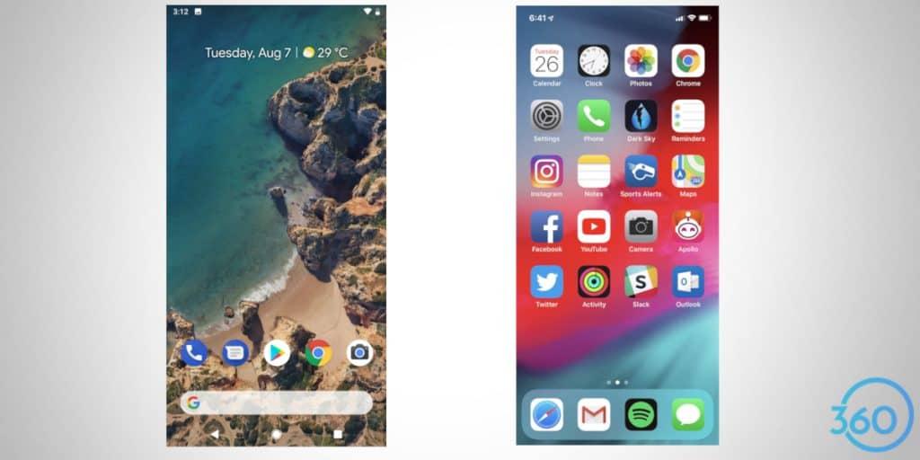 interface do android e do ios