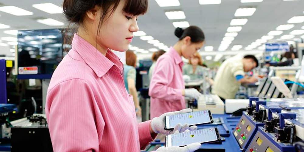 Fabricação-de-celulares-da-Samsung